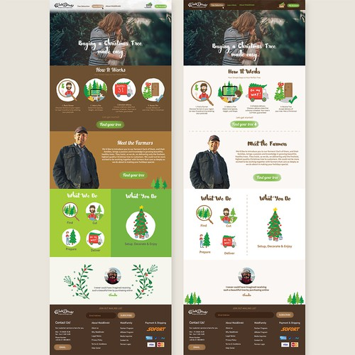 Layout website with the title 'Buying a Christmas tree Website Design'