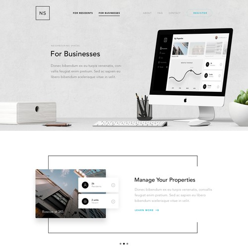SaaS design with the title 'Website Design for Neighbouring Spaces'