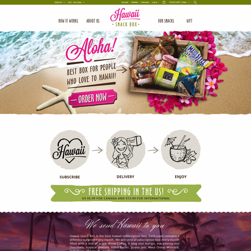 Box design with the title 'Hawaii Snack Box'