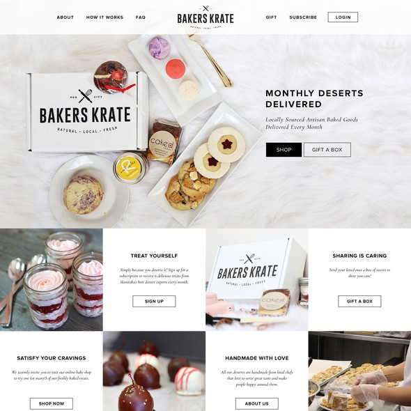 Bakery website with the title 'Clean design for a subscription company'