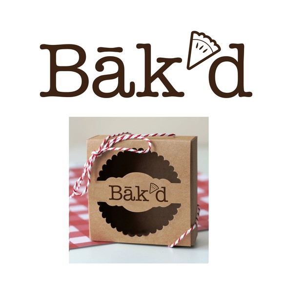 Bakery logo with the title 'winning design: bak'd pie bakery logo'