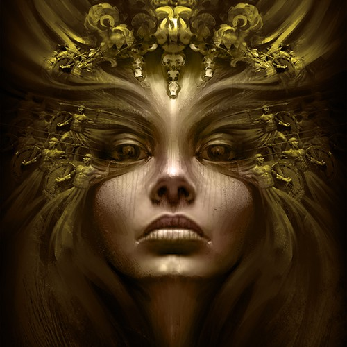Paint illustration with the title 'Majestic face of an empress for a fantasy book cover'