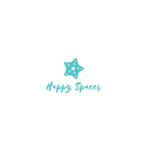 Starfish logo with the title 'Create a calming beachy bright starfish for Happy Spaces'