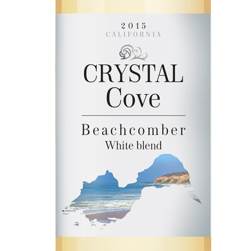 Beverage label with the title 'Wine label Crystal Cove'