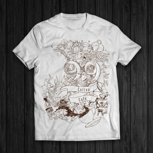 Cafe artwork with the title 'T shirt design for 99 coffee cafe'