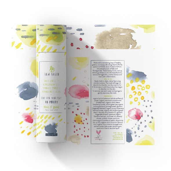 Energy packaging with the title 'Energetic watercolour package for organic skincare'