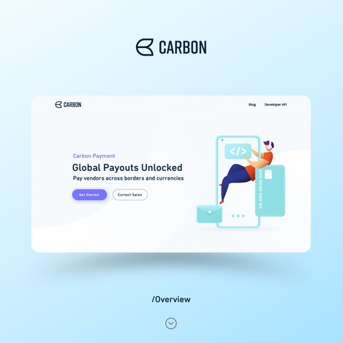 Art and design website with the title 'Carbon Payment Web Page'