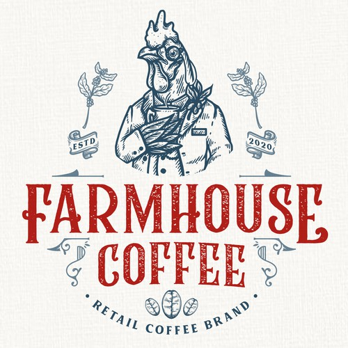 Blue and red logo with the title 'Farmhouse Coffee'