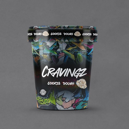 Hipster packaging with the title 'CRAVINGZ Icecream'