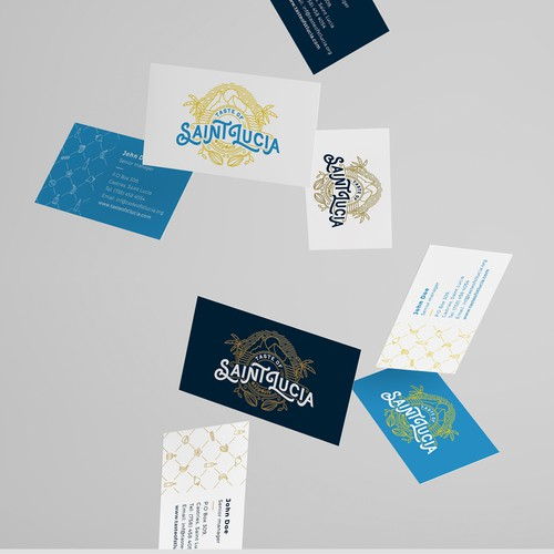 Blue brand with the title 'Logo, stationery, brochure and site concept for Taste of Saint Lucia'