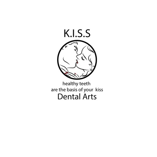 Kiss logo with the title 'logo concept for dental firm with innovative services'