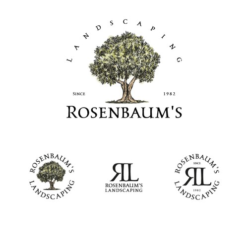 High-end brand with the title 'Logo and brand identity for Rosenbaum's Landscaping'