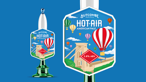 Hot air balloon logo with the title 'American Pale Ale tap'