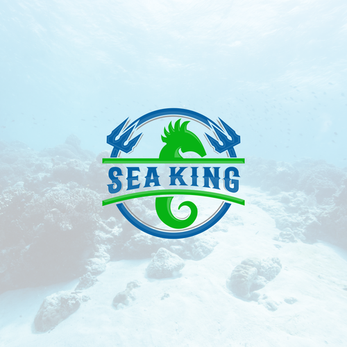 Seahorse design with the title 'Sea King logo concept'