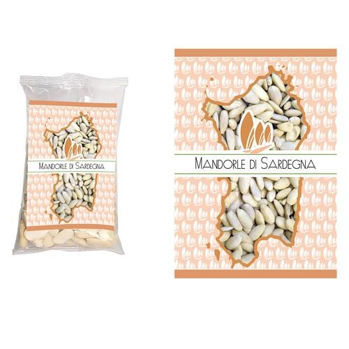 Maroon design with the title 'etichetta per sacchetto di mandorle'
