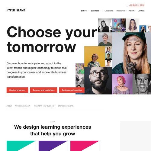 Course design with the title 'Landing page design'