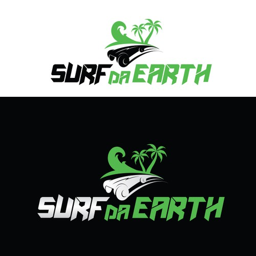 Playful logo with the title 'Surf Da Earth - Off Road Skateboards Hawaii'