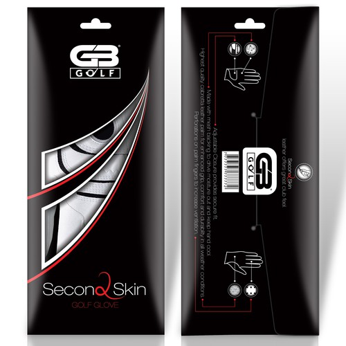 Slick design with the title 'Create sleek golf glove packaging for Grip Boost'