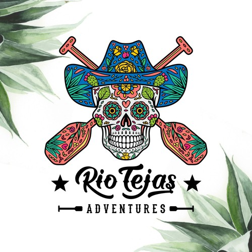 Sugar skull design with the title 'Sugar skull meets cowboy style logo for Rio Tejas Adventures'