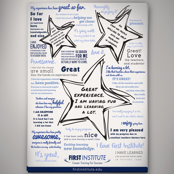 Testimonials design with the title 'Create a Non-Traditional Testimonial Flyer for First Institute.'