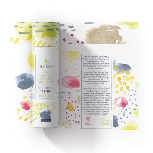 Organic packaging with the title 'Energetic watercolour package for organic skincare'
