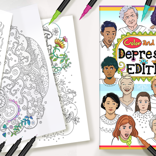 Coloring design with the title 'Color and Cope: DEPRESSION EDITON'