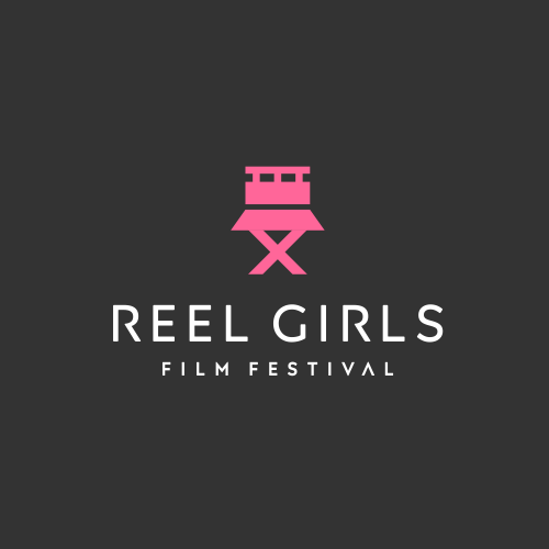 Film industry logo with the title 'concept idea : women's skirt + roll film + director's chair'