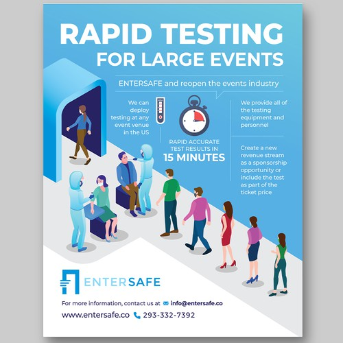 Safety design with the title 'Flyer for Covid-19 Rapid test service '