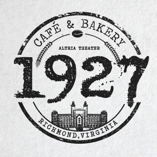Typewriter logo with the title 'Cafe Bakery inside music Venue'