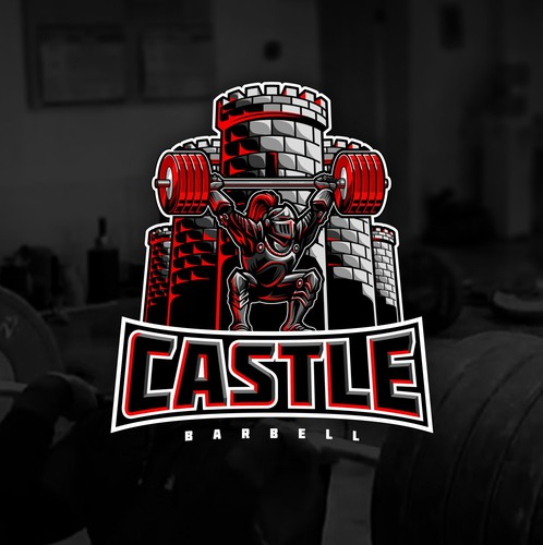 Weightlifting design with the title 'Knight and Castle Logo for Weightlifting Gym'