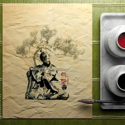 Artwork with the title 'Miyamoto Musashi Illustration'