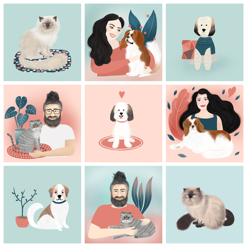 Portrait design with the title 'Illustrations for a pet brand'
