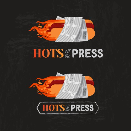 Hot dog design with the title 'Hots off the Press'