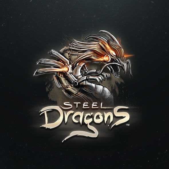 Steel design with the title 'Steel Dragons Game Logo'