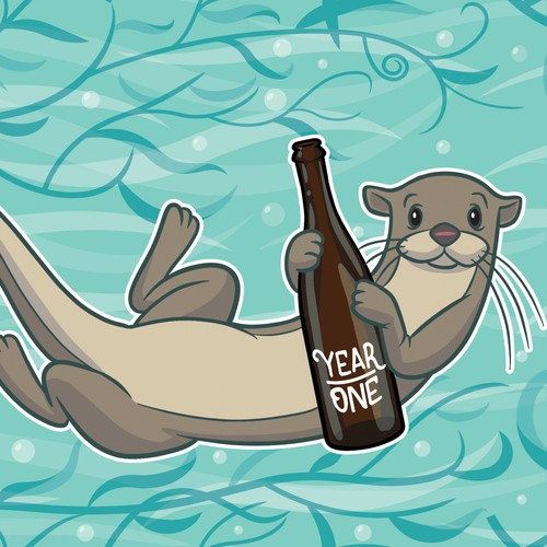 Beer illustration with the title 'Swimming Otters horizontally repeating pattern'