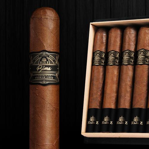 Branding label with the title 'RajaZ premium cigar'