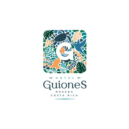Costa Rica design with the title 'Guiones Hotel'