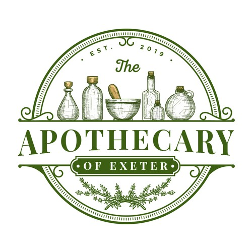Apothecary design with the title 'The Apothecary of Exeter'