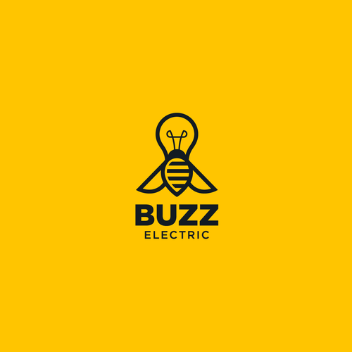 Lightbulb design with the title 'Create a logo for Buzz Electric with a bee and a lightning bolt!'
