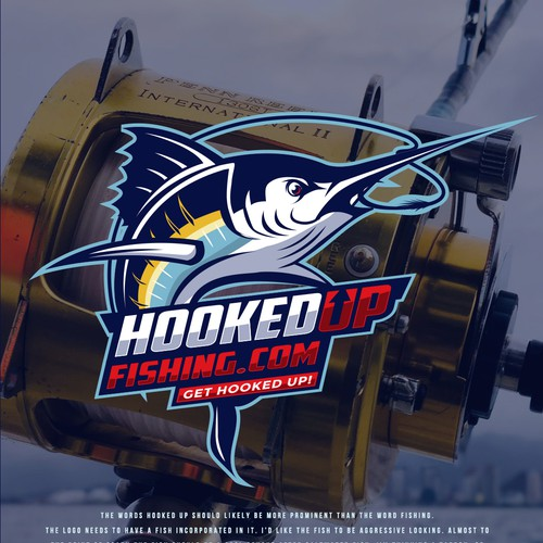 Fishing hook logo with the title 'HookedUpFishing.com'