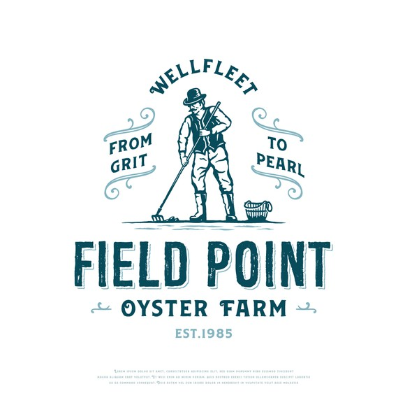 Oyster design with the title 'Field Point oyster farm'