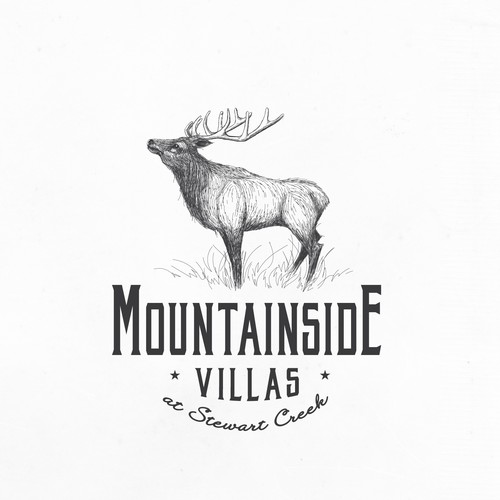 Sketching logo with the title 'Beautiful Elk design for Real Estate Company'