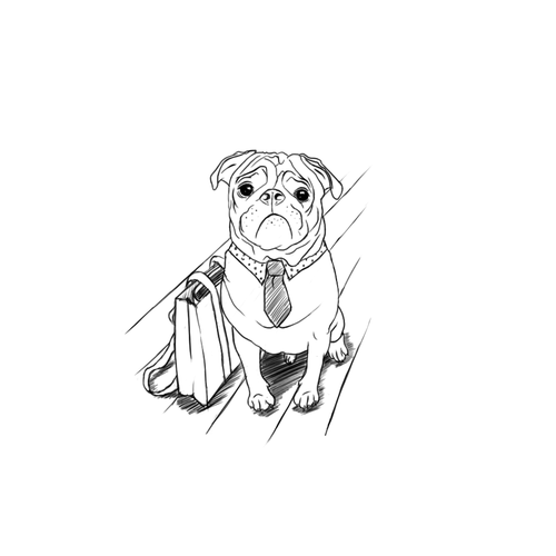 Pug design with the title 'Dog Clothing Illustration'