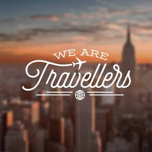 Lettering logo with the title 'Flat minimal design Logo for a Travel website'