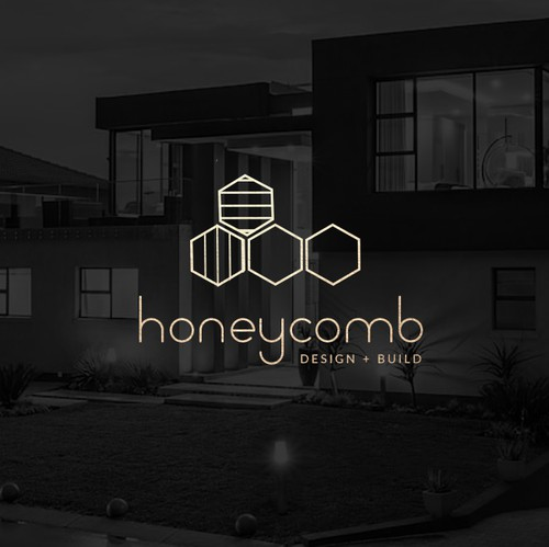 Geometric logo with the title 'Honeycomb / Hexagon Logo for Architectural Company'