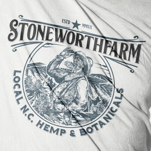 "Hemp oil logo with the title '""From soil to oil"" Stoneworthfarm Pittsburgh,North Carolina. '"