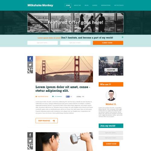 User-friendly website with the title 'Milkshake Monkey Fitness Blog Design'