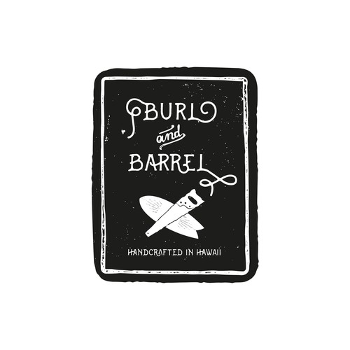 Carving logo with the title 'Burl and Barrel - logo for eclectic surf craft and woodwork'