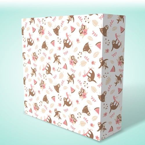 Sloth design with the title 'Sloth wrapping paper design'