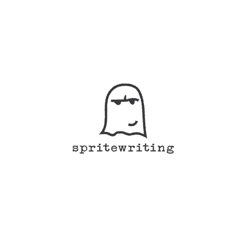 Copywriter logo with the title 'Playful hand drawn ghost'